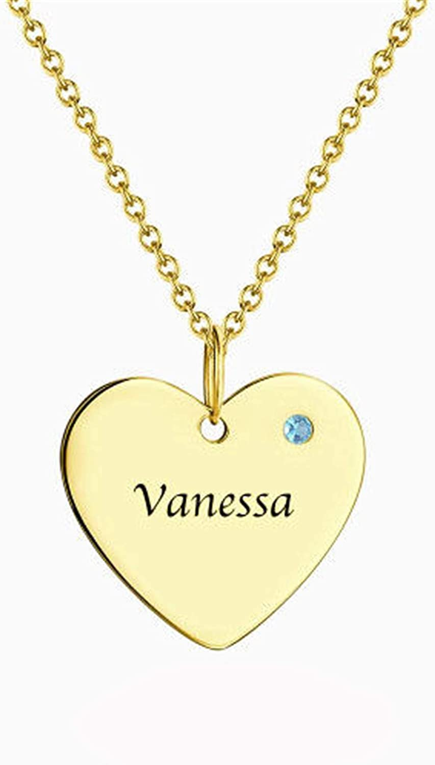 Sterling Silver Personalized 2 Names Simulated Birthstones Necklaces 2 Couple Hearts Name Engraved Pendants for Women 1 Name-1 Birthstone-1 Heart, 22