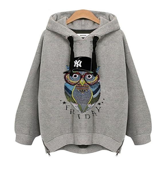 Rcdxing sudaderas con capucha Búho personalizado gris impresión de las mujeres suéter informal suéter de manga larga con capucha suelta suéter superior ...