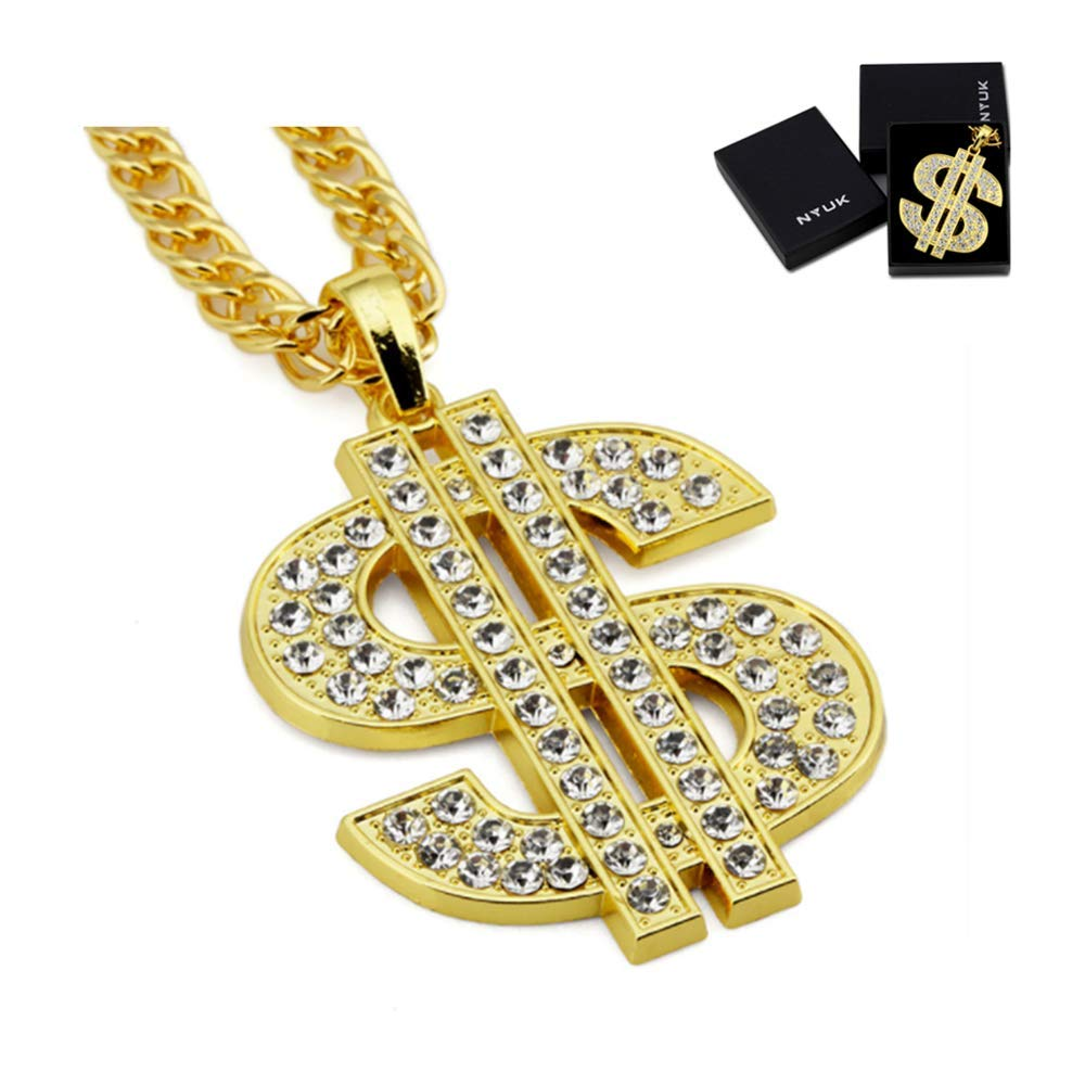 NYUK Gold Chain for Men with Dollar Sign Pendant Necklace 180730
