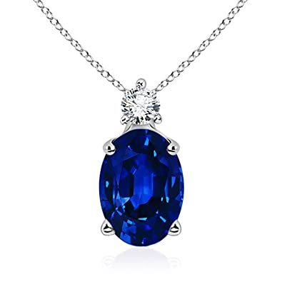 Angara Oval Blue Sapphire Necklace with 4 Prong Setting rJC07A