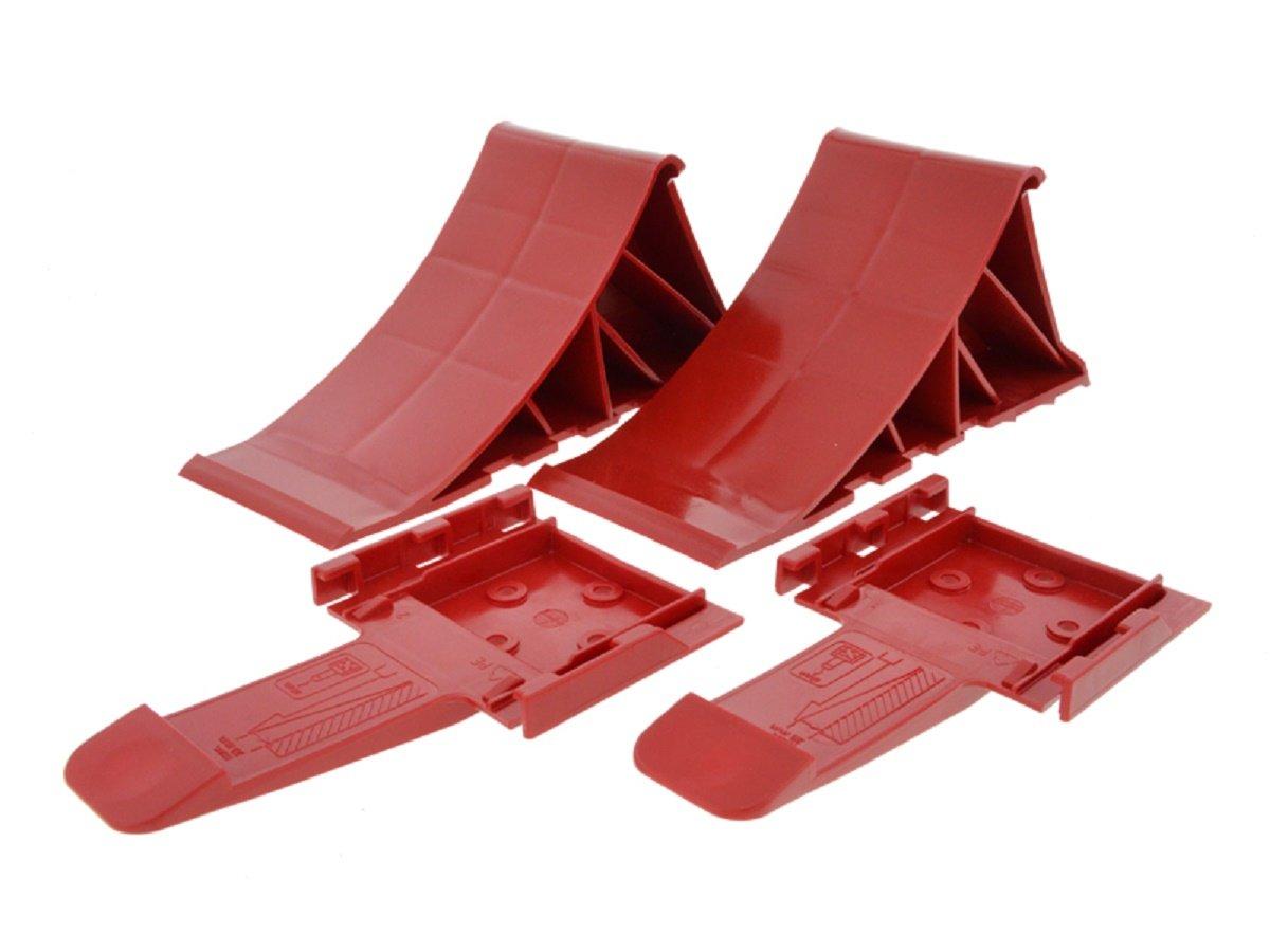2 Unterlegkeile Mit Halter rot 1600 kg - Bremskeile Anhä ngerkeile bis 1.6t - von The Drive (rot) 14308