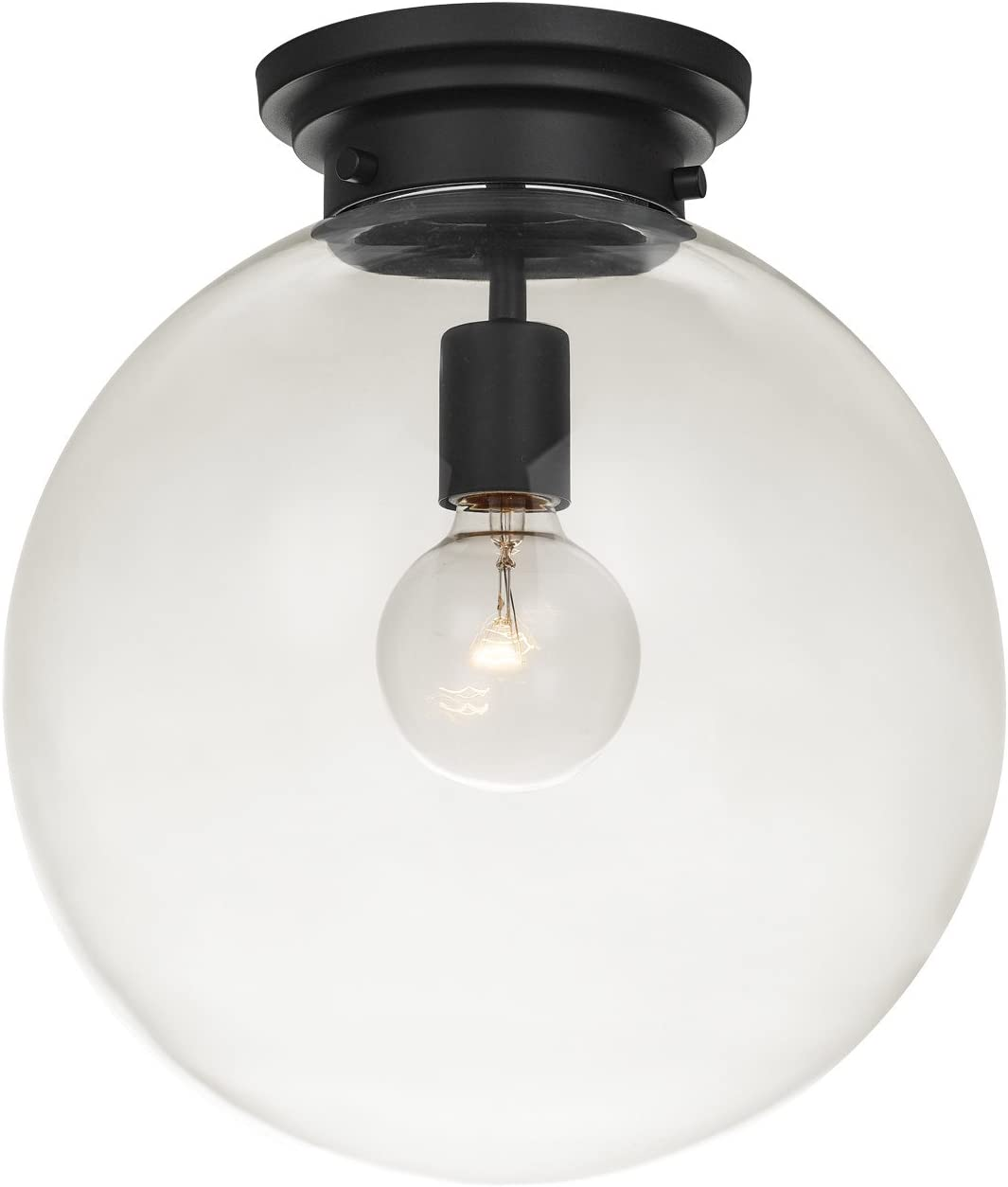 Globe Electric Portland 1-Light Semi-Flush Mount Ceiling Light, Black Finish, Clear Glass Shade 65954