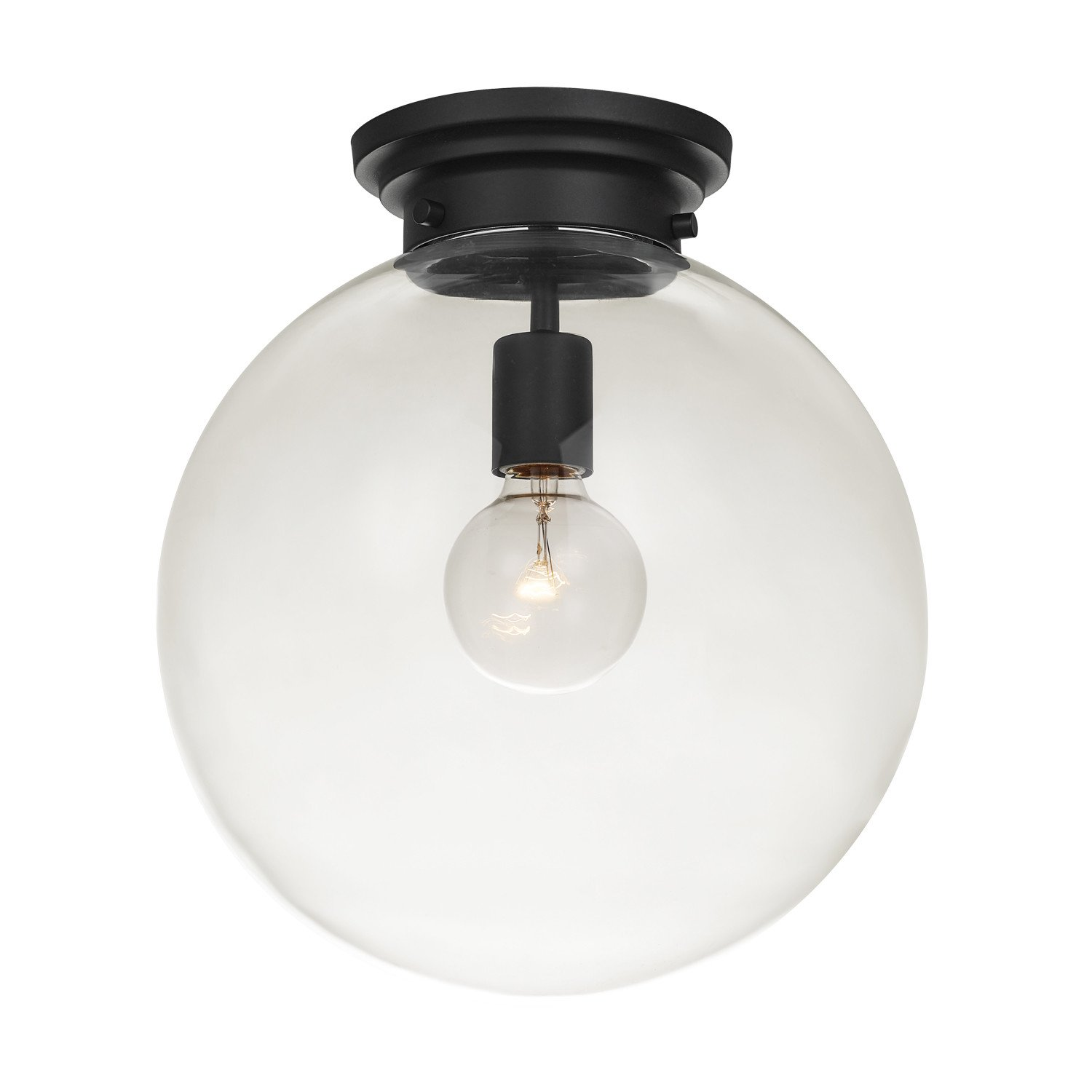 Amazon com globe electric 65954 portland light semi flush mount black with clear glass shade home improvement