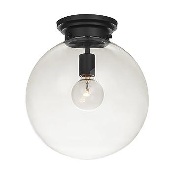 Globe Electric Portland 1 Semi Flush Mount Ceiling Light Black