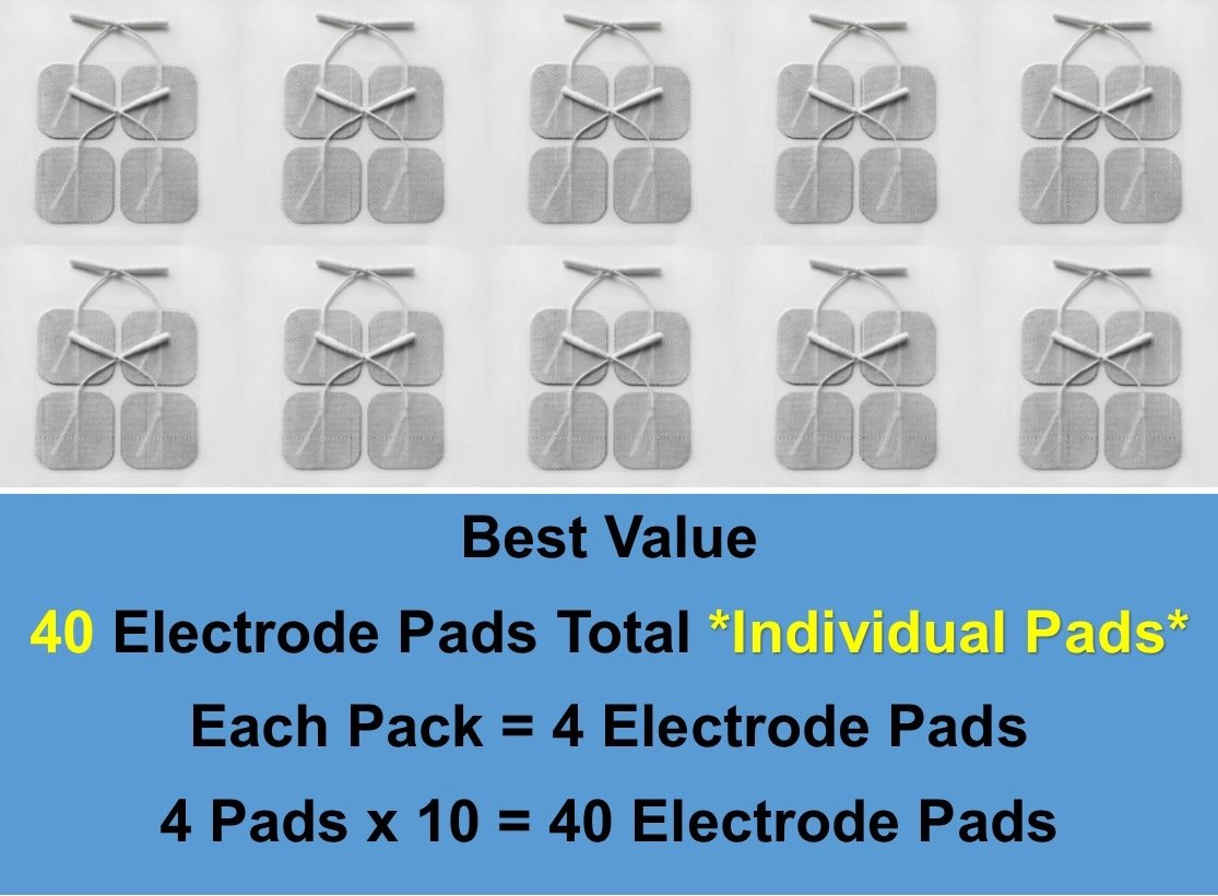 Angel Premium TENS/EMS Unit 40 Electrode Pads 2''x2'' in. Reusable Self Stick Gel Carbon Electrodes  by K.S. Choi Corp (Image #2)