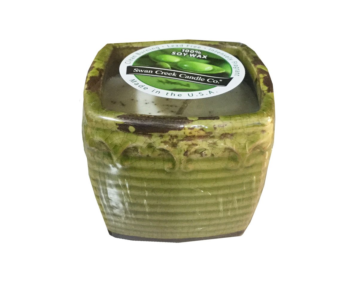 Swan Creek 9 Oz. 100% Soy Wax 45+ Hour Candle in Square Pottery ''Thai Pear'' by Swan Creek Candles