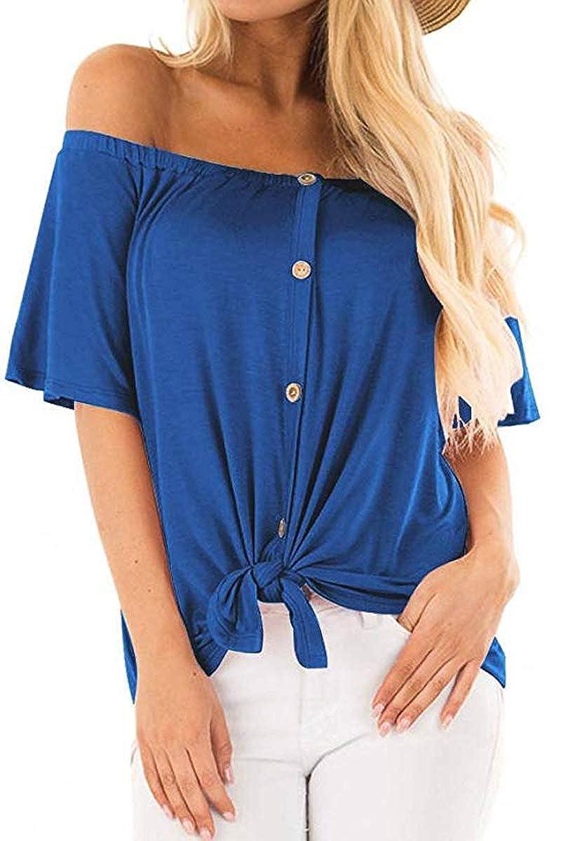 bluee QINSEN Women's Casual Off Shouler Button Up Bell Sleeve T Shirt Tie Knot Blouse Tops