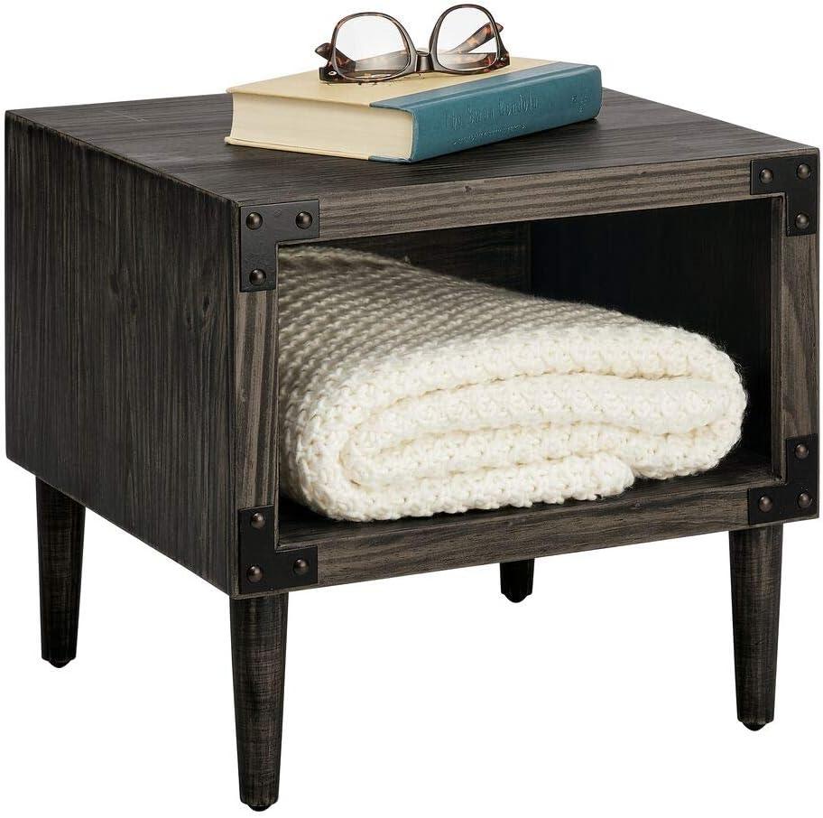 mDesign Side End Table Storage Nightstand - Sturdy Wood Frame, Open Shelf, Drawer - Furniture Unit for Living Room, Bedroom, Hallway, Entryway, 1 Shelf - Black Wash