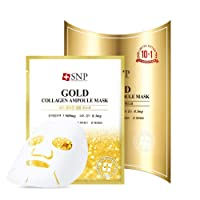 SNP - Gold Collagen Ampoule Anti-Aging Korean Face Sheet Mask - Plumps & Tightens Using Real 24K Gold for All Skin Types - 11 Sheets - Best Gift Idea for Mom, Girlfriend, Wife, Her, Women
