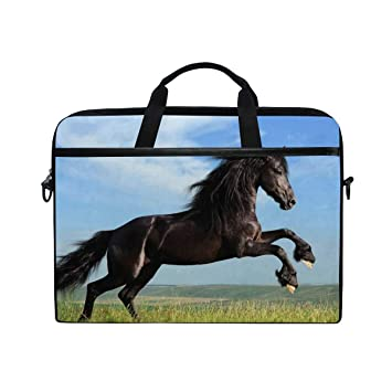 902e1bf9ab2 Laptop Computer Bag Running Black Horse Notebook Shoulder Messenger Cases  Packs for Women Men (15