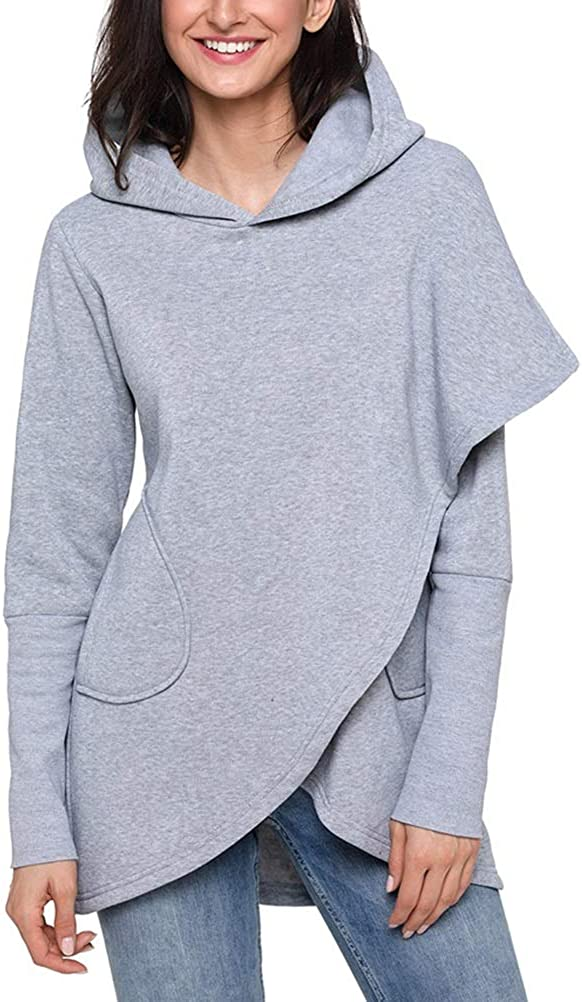 Shanenxn Womens Long Sleeve Solid Color Irregular Hoodie Casual Sweatshirt with Pocket Sweatshirt