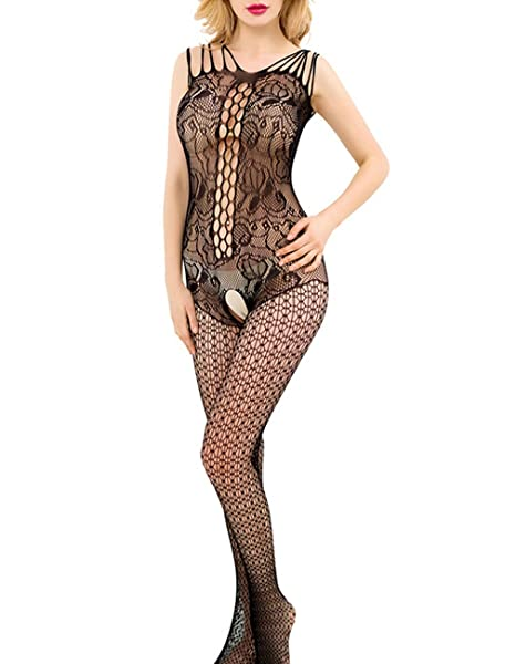 a0af27db0da Amazon.com  Fishnet Bodystockings Women Sexy Mesh Lace Hollow Lingerie  Nightwear Fit S-XXL  Clothing