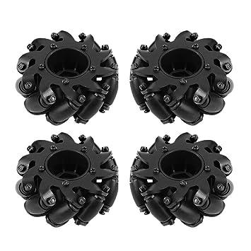 4 Pcs/Set Drive Wheel, Caucho Metal Rueda de Trigo Izquierda / Derecha Robot Kit Ruedas Omnidireccionales para Mecanum RC Modelo Componente Accesorios: ...