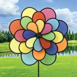 Bits and Pieces - 20'' Nylon Triple Flower Wind Spinner - Three Tiered Rainbow Petal Wind Spinner for your Yard or Garden