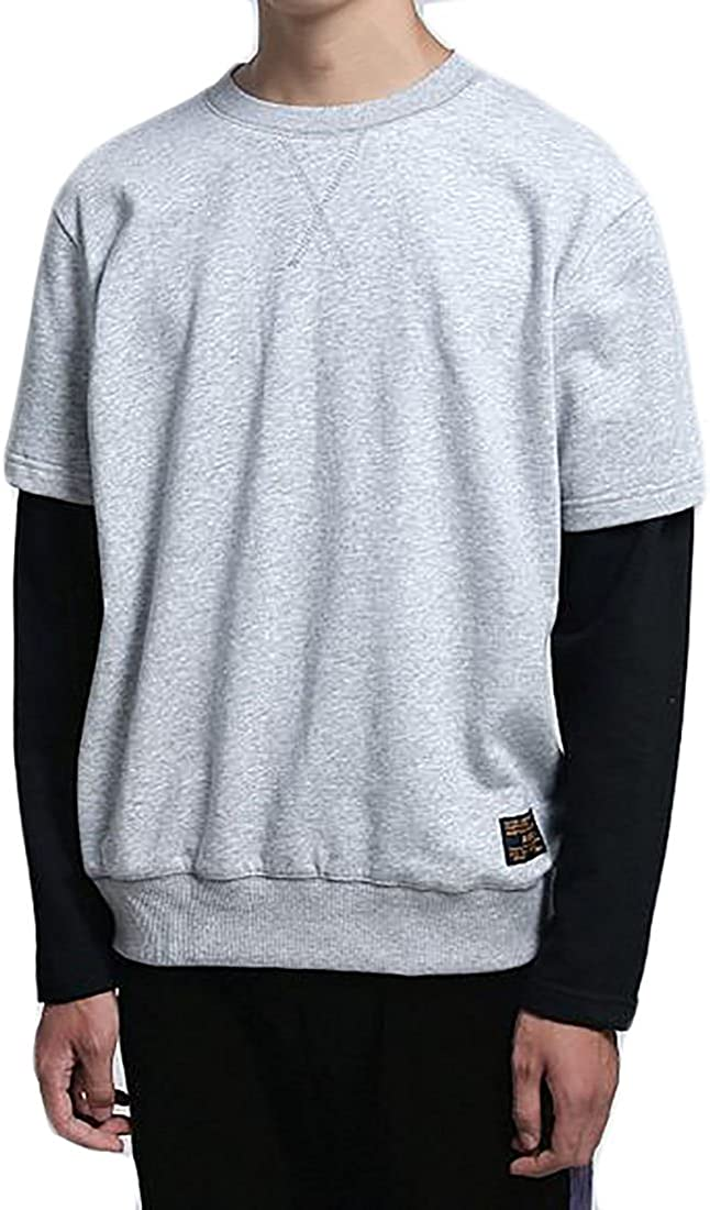 xtsrkbg Mens Sports Long Sleeve Fake Two Pullover Hip Hop Outwear