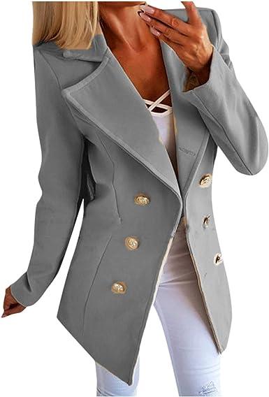 VEKDONE Women Winter Oversized Warm Woolen Blazer Jackets Double Breasted Pea Coat Long Trench Coat Outwear