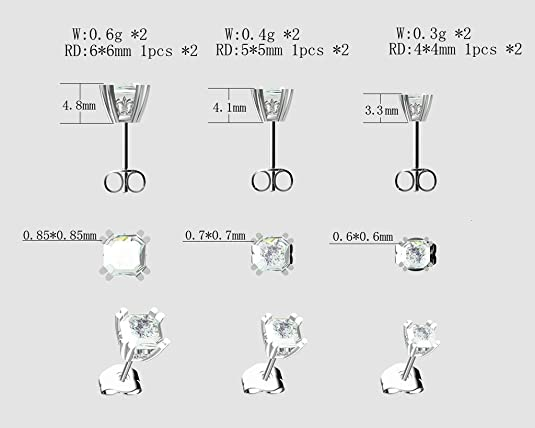 amazon com nana asscher cut swarovski cz stud earrings silver 14k gold post 4mm 0 75cttw platinum plated jewelry