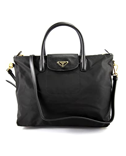 Prada BN2106 Nero Black Tessuto Saffian Nylon and Leather Shopping Tote Bag
