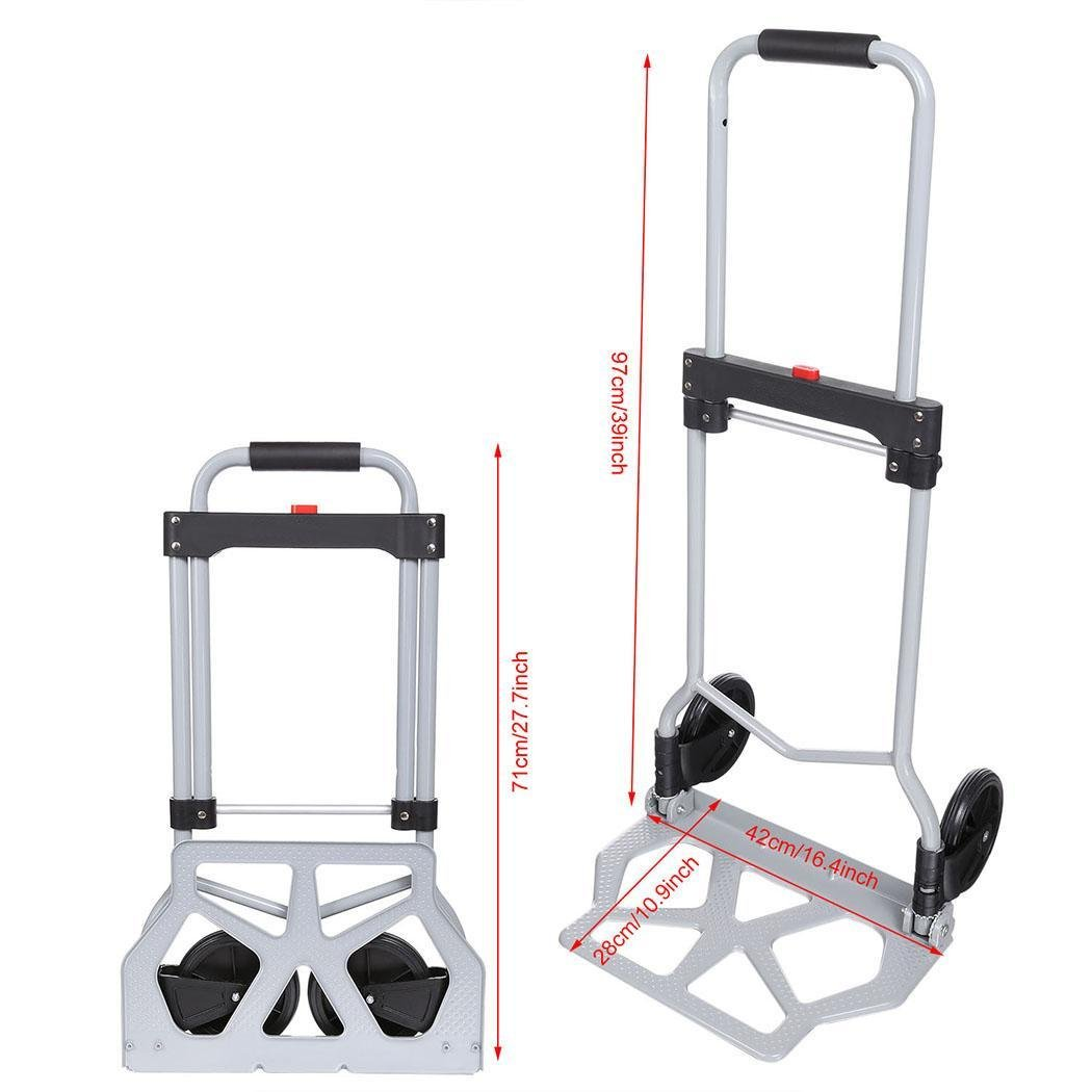 Dtemple 220lbs Capacity Heavy Duty Hand Truck/Dolly for Industrial Travel Shopping by Dtemple (Image #3)