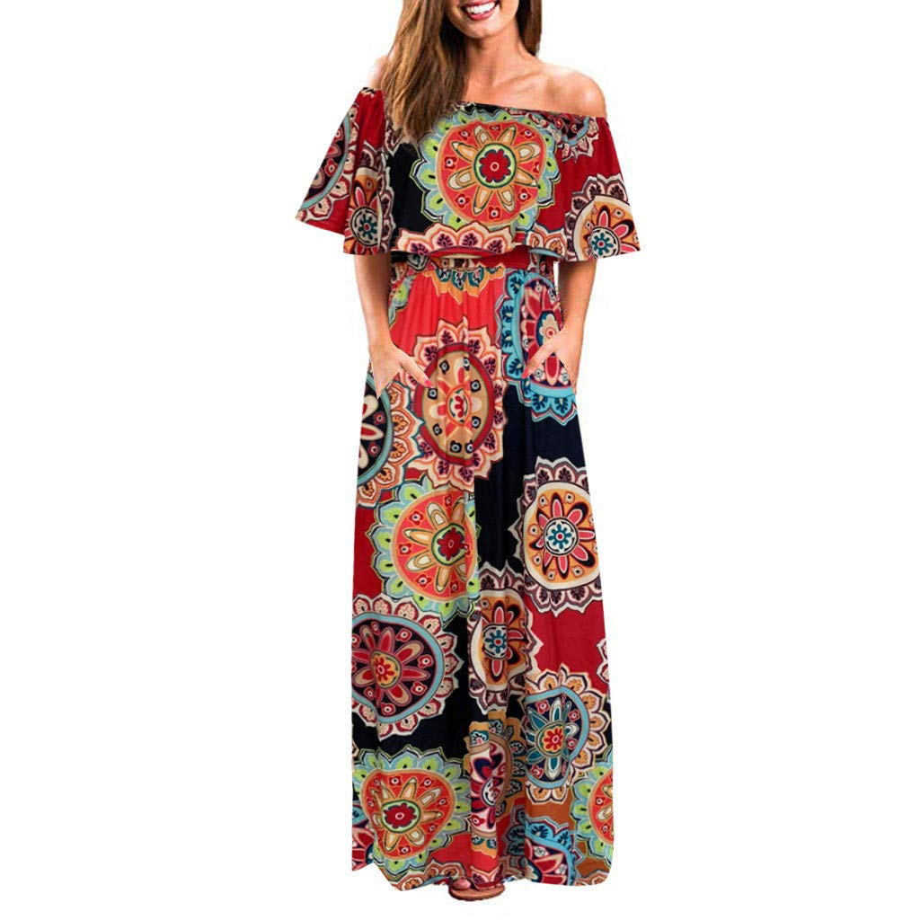 Women Off Shoulder Split Maxi Dress Summer Casual Ruffle Pleated Retro Printed Beach Long Dresses with Pockets (Small, Orange)