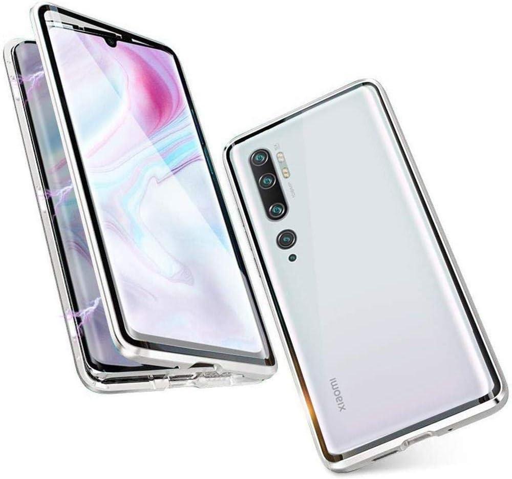 Funda para Xiaomi Mi 10 / Mi 10 Pro, 360 Grados Delantera y Trasera de Transparente Vidrio Templado Case Cover, Fuerte Tecnología de Adsorción Magnética Metal Bumper Cubierta - Plata