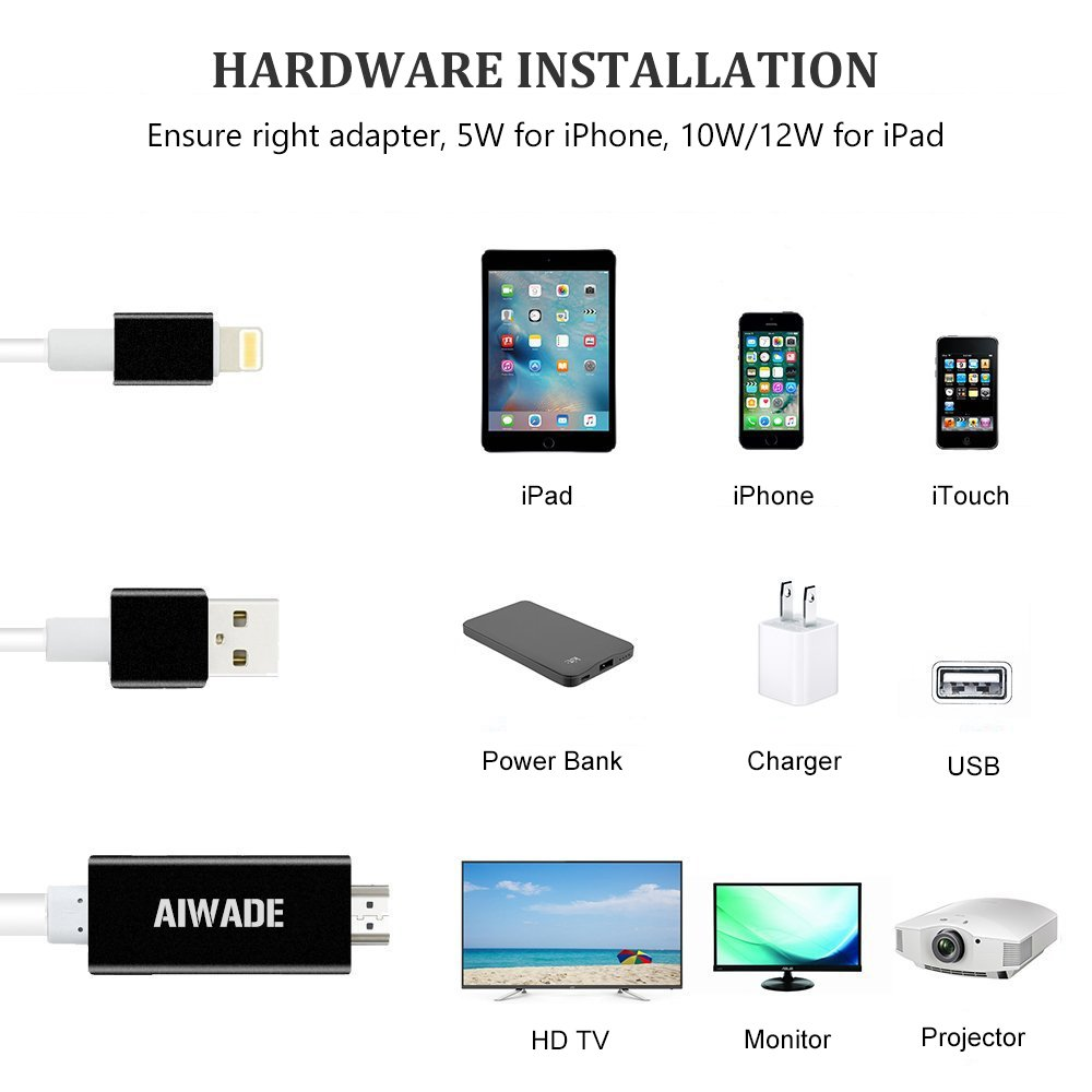 Lightning to HDMI Adapter, iPhone to HDMI Cable 1080P Digital AV HDTV Cord Dongle for Apple iPhone X/8/8 Plus/7/7+/6/6S/SE/5S, iPad Pro Air Mini iTouch Lightning to HDMI Converter Adapter from Aiwade by AIWADE (Image #3)