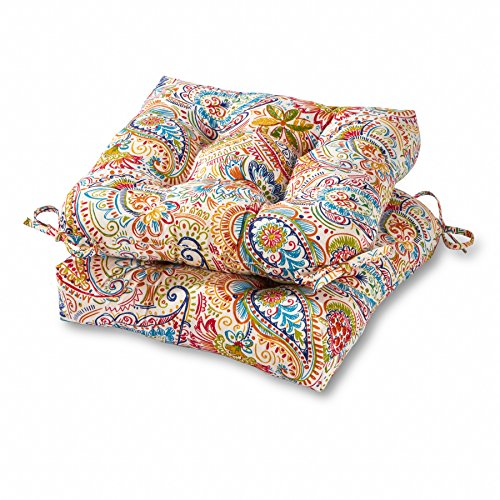 Painted Outdoor Furniture - Greendale Home Fashions 20-inch Outdoor Chair Cushion in Painted Paisley (set of 2), Jamboree