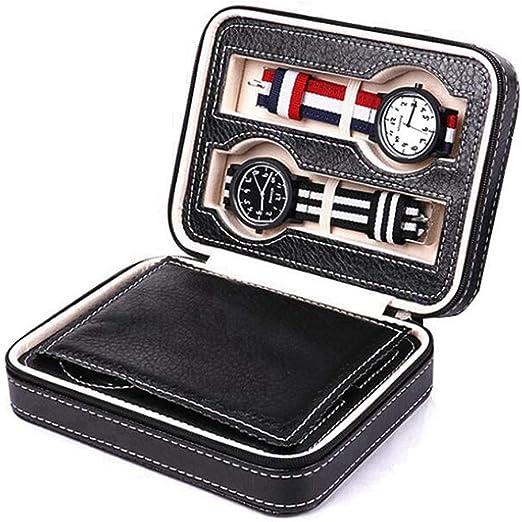 YAJU Reloj Caja para, Caja De Almacenamiento De Reloj con Cremallera, Caja De Almacenamiento De Bolsa De Cremallera Esencial De Viaje De Viaje PortáTil, Caja De Regalo De Reloj con 4 Compartimentos: