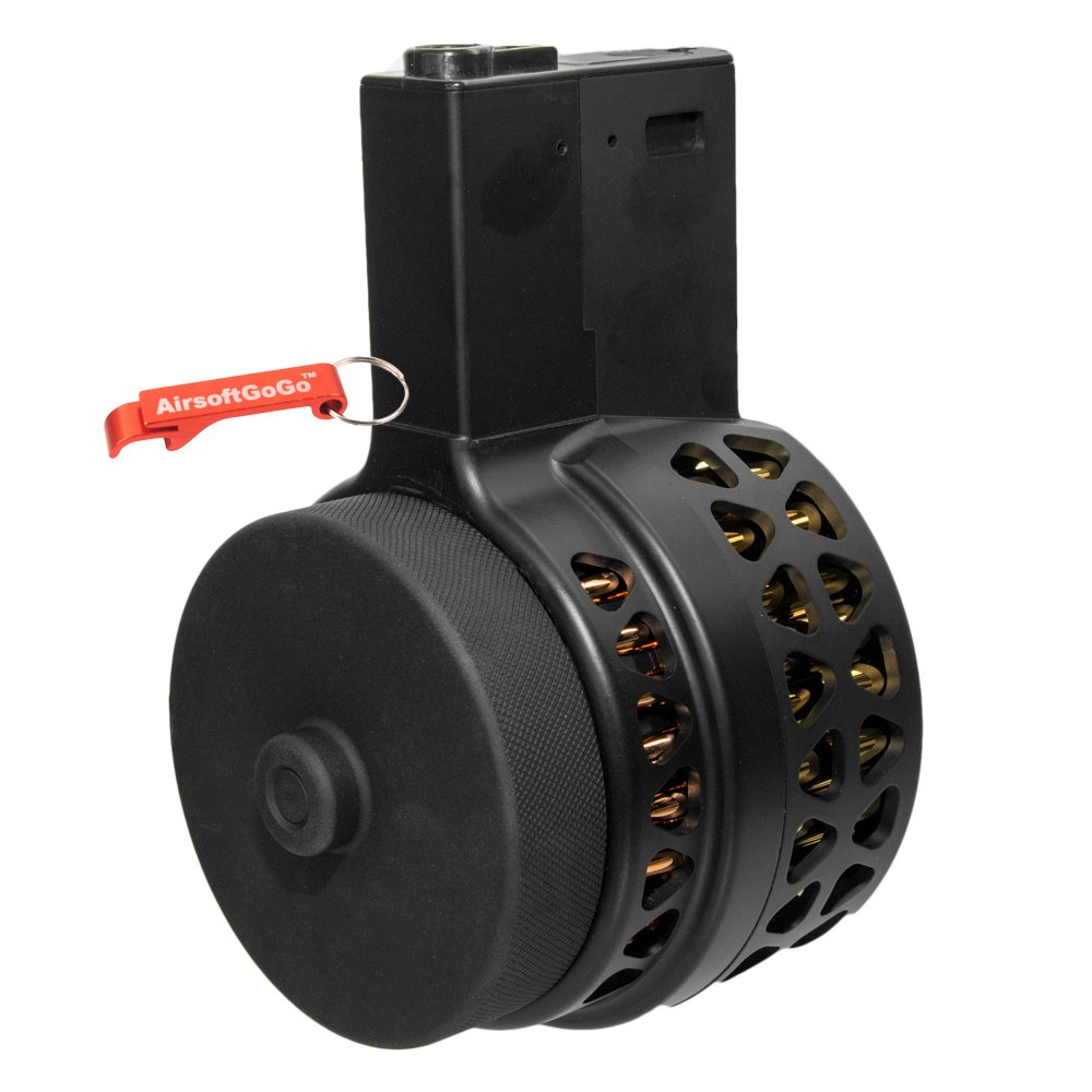 1000rds Drum Magazine for M4 / M16 Airsoft AEG (Black) - AirsoftGoGo Keychain Included