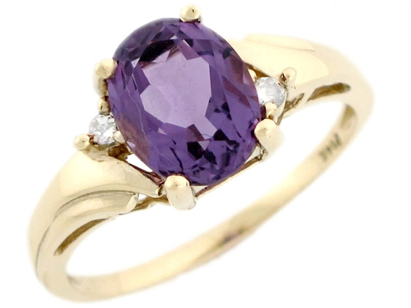 Jewelry Liquidation 14k Real Yellow Gold Amethyst Diamond Beautiful Ladies Ring