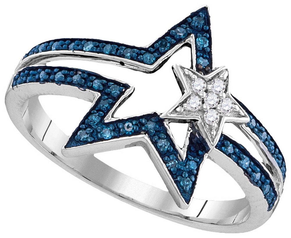 Size - 10 - Solid 925 Sterling Silver Round Blue And White Diamond Channel Set Star Fashion Ring (.15 cttw)