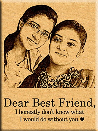 Incredible Gifts India Friendship Day Gift Online - Dear Friend Engraved  Photo on Wood (7x5 Inches)