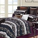 EverRouge 7-Piece Cotton Duvet Cover Set, Queen, Passionate, Black/White/Brown