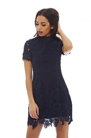 Amazon Ax Paris Womens High Necked Lace Dressnavy Size6