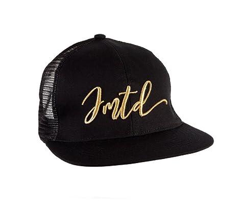 413d943061 IMTD Mens Designer Summer Beach Holiday Scribble IMTD Signature Flat Peak  Mesh Trucker Cap Hat Gold Scribble  Amazon.co.uk  Clothing