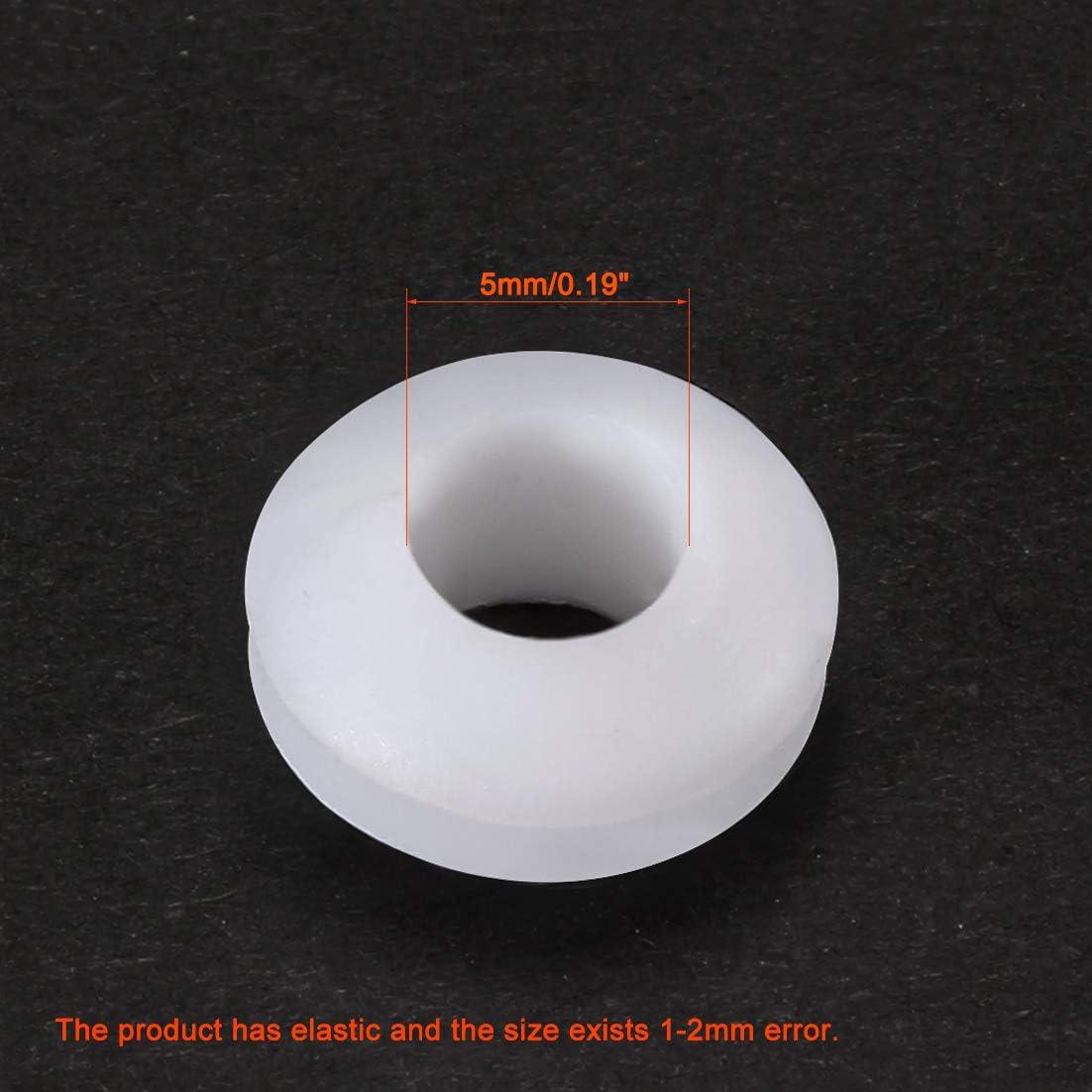 sourcing map Pasamuros Protector de cable de goma de fijaci/ón resistente al aceite de 5 mm de di/ámetro 50pcs blanco