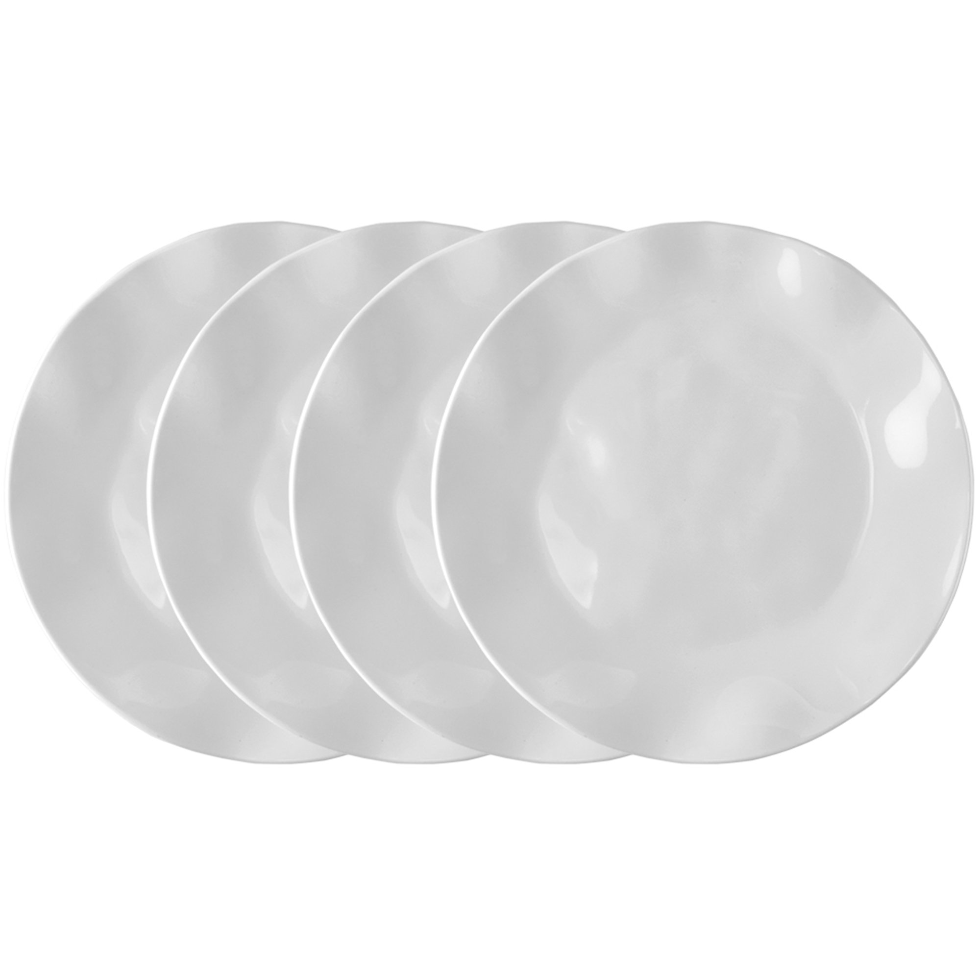 Q Squared Ruffle in Round BPA-Free Melamine Round Dinner Plate, 10-1/2 Inches, Set of 4, White
