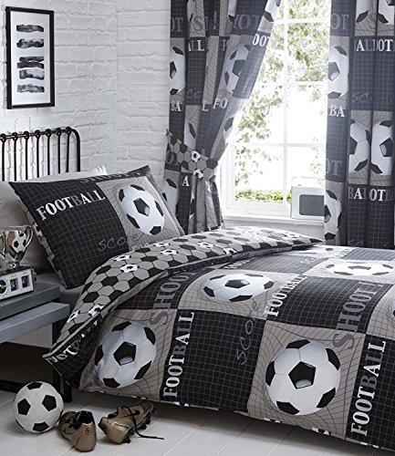 Shoot Football Single Duvet Cover and Pillowcase Bed Set, Polyester-Cotton, Grey