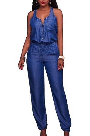 f9764383a68c Fanvans Women Denim Jumpsuits Sleeveless Full Length Jeans Rompers Overalls   Amazon.co.uk  Clothing