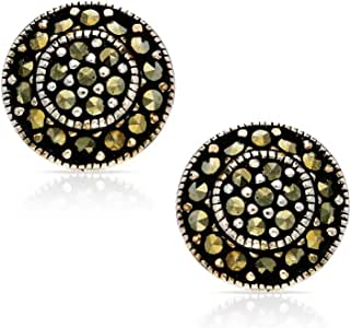 BLING BIJOUX Bohemian Vintage Crystal Round Earrings Never Rust 925 Sterling Silver Natural and Hypoallergenic Studs For Women and Girls with Free Breathtaking Gift Box for Special Moments of Love
