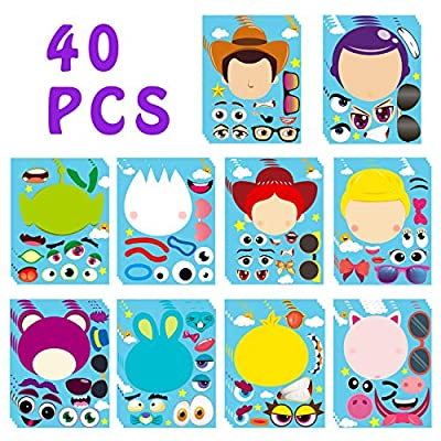 MALLMALL640Pcs Toy 4 MakeaFaceStickersDIYPartyFavorsGames Toy 4th Themed Birthday Party Supplies Decorations Sticker Decals Woody Buzz Lightyear Bo Peep Fork Jessie Dress Up Crafts for Kids: Arts, Crafts & Sewing
