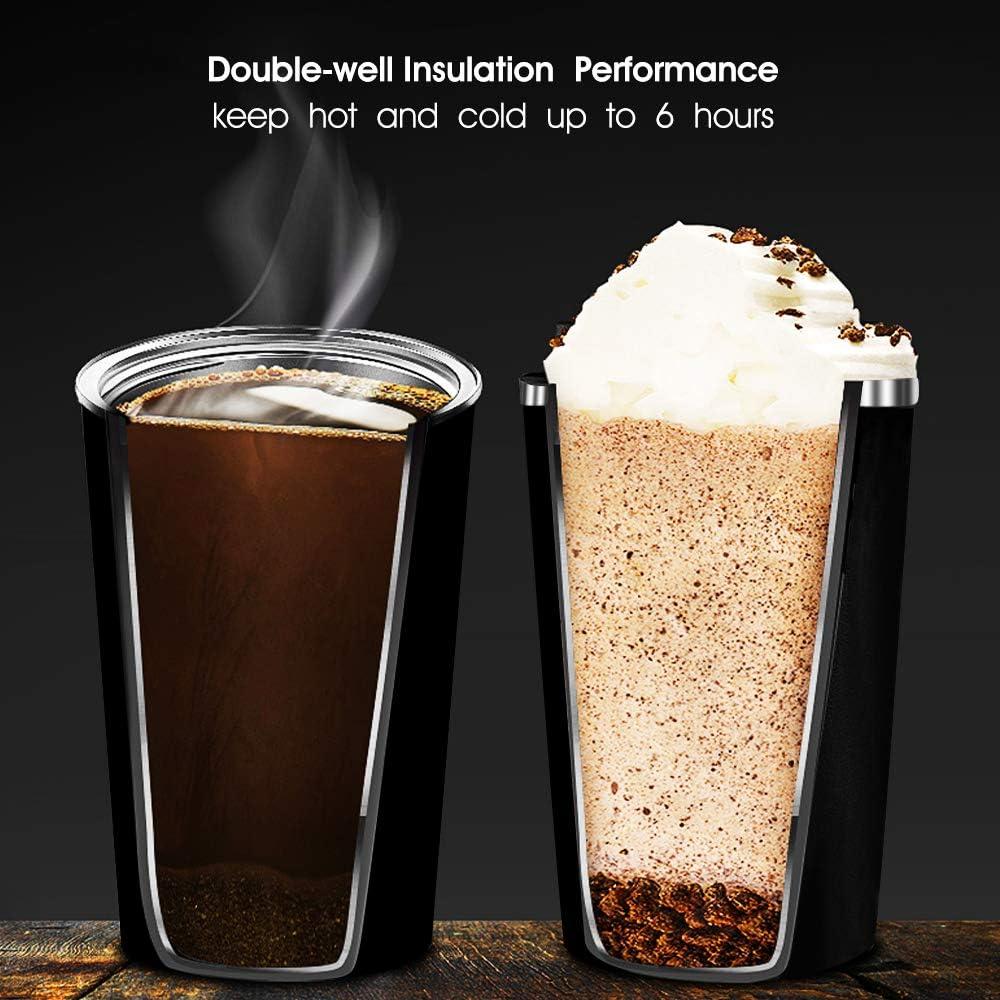 Artlive Isolierte Kaffeebecher Tee und Bier doppelwandige Isolierbecher Vakuumisolierung Edelstahl mit auslaufsicherem Deckel Umweltfreundliche Wiederverwendbare Thermobecher f/ür Kaffee 380ml