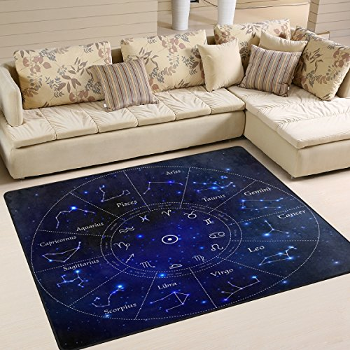 (ALAZA Zodiac Constellation Space Star Area Rug Rugs for Living Room Bedroom 5'3 x 4' )