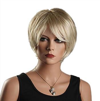 GAIHU Moda corta rubia peluca esponjoso cabello sintético ondulado rizado natural para mujeres señoras como Real