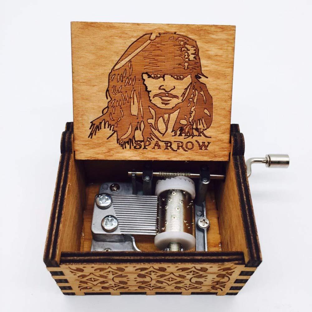 GOGOCC Bo/îte /à Musique en Bois sculpt/ée /à la Main avec manivelle 6.4cm*5.2cm*4.2cm Davy Jones Bois Dense