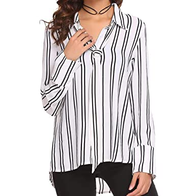 c34f8df6a Botrong Women Fashion Long Sleeve Blouse V Neck T-Shirt Sexy Striped Top (S