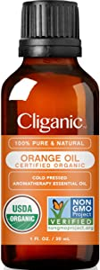 Cliganic USDA Organic Sweet Orange Essential Oil, 1oz - 100% Pure Natural for Aromatherapy Diffuser | Non-GMO Verified