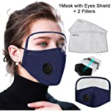 Face Safety, 1 Pack + 2 Filters, Reusable Face Bandanas, Breathable and Anti-Haze Dust, for Adult (Blue B)