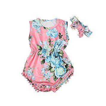 Newborn Baby Girls Deer Floral Romper Jumpsuit Bodysuit Clothes Outfits Sunsuit