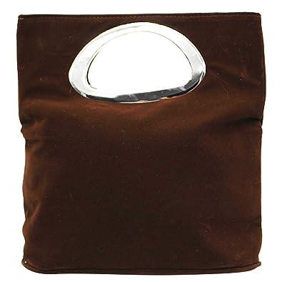2c5451c50da3 Wocharm Ladies Handbag Womens Suede Leather Plain Tote Bag Foldable Evening  Clutch Bag (Deep Brown
